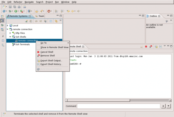 Remote System Explorer Shell and Terminal Setup - Remote System