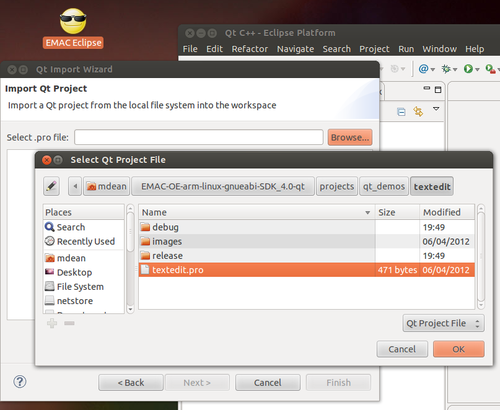 Importing EMAC OE SDK QT Projects with Eclipse - Importing